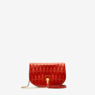 Bally Clayn Red, Women's quilted calf leather minibag in papavero