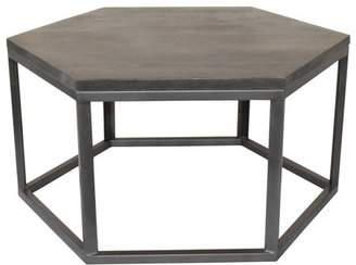 Crestview Collection Bengal Manor Mango Wood and Metal Grey Hexagon Cocktail Table