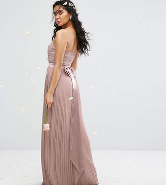 TFNC Bandeau Maxi Bridesmaid Dress With Bow Back Detail
