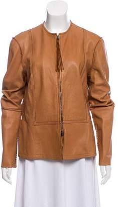 Henry Beguelin Collarless Leather Jacket