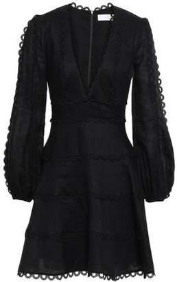 Zimmermann Heather Scalloped Braid-trimmed Linen Mini Dress