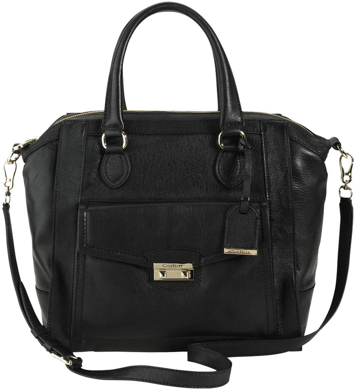 Zoe Structured Leather Satchel, Black