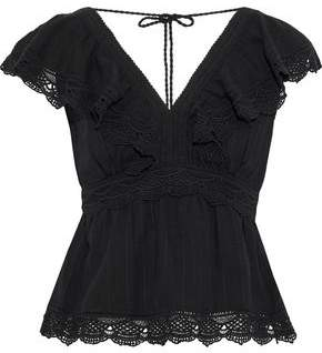 Love Sam Guipure Lace-Paneled Ruffled Cotton Top