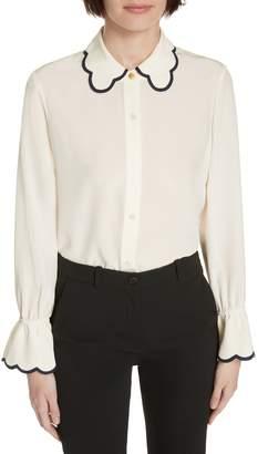 Tory Burch Scallop Silk Bell Sleeve Shirt