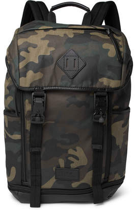 Polo Ralph Lauren Camouflage-Print Leather-Trimmed Cotton-Canvas Backpack