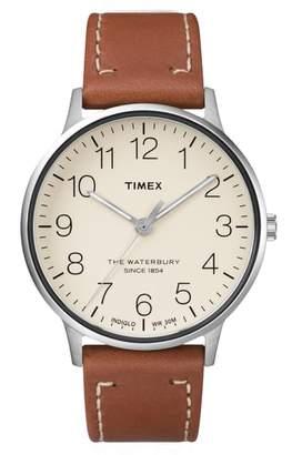 Timex R) Waterbury Classic Leather Strap Watch, 40mm