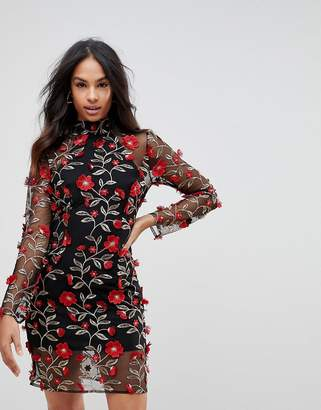 Club L High Neck Red Rose Embroidered Dress