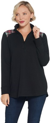 Denim & Co. Active French Terry Half Zip Tunic with Pockets