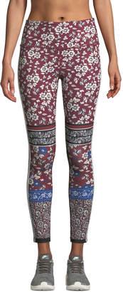 Kate Spade whimsy bi-stripe floral leggings