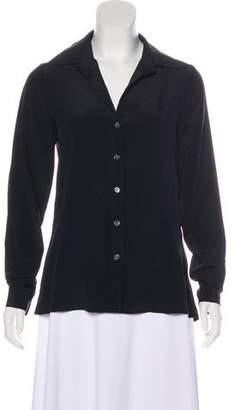 Fifteen-Twenty Fifteen Twenty Silk Cutout-Accented Button-Up Top w/ Tags