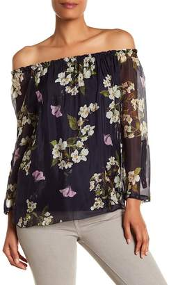 Lola Made In Italy Floral Off-the-Shoulder Silk Blouse