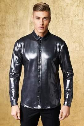 boohoo Slim Fit High Shine Long Sleeve Shirt