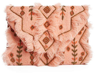 American & Beyond Frayed & Beaded Clutch