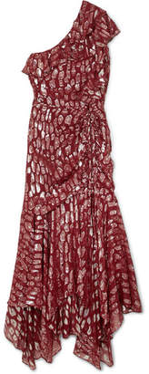 Veronica Beard Leighton One-shoulder Ruffled Metallic Silk-blend Jacquard Dress - Burgundy