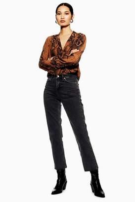 Topshop Washed Black Raw Hem Straight Leg Jeans