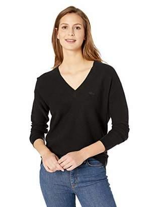 Lacoste Women's Long Sleeve Cotton V-Neck Sweater