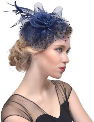 5e167999b42 styling  centtechi Women Vintage Fascinators Hat Flower Mesh Feather Beads  Decoration Headwear with Hair Clip