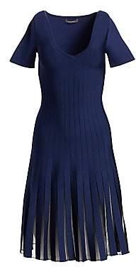 Zac Posen Women's Knit Sheer Pleated V-Neck Dress