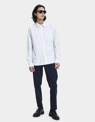 Mhl. Painters Button Up Shirt in White/Charcoal
