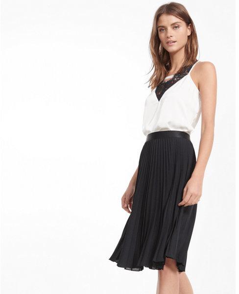 Express petite high waisted pleated midi skirt