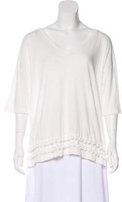Current/Elliott Pom-Pom Trim Short Sleeve Top