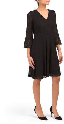 Lace Bell Sleeve Fit & Flare Dress