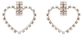 Saint Laurent Smoking Love Heart Crystal Embellished Earrings - Womens - Crystal