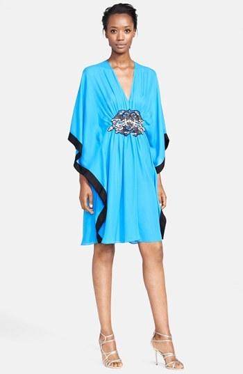 Naeem Khan Jewel Detail Silk Georgette Caftan