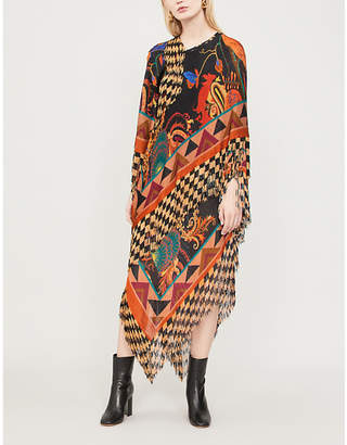 Etro Geometric-pattern knitted poncho dress