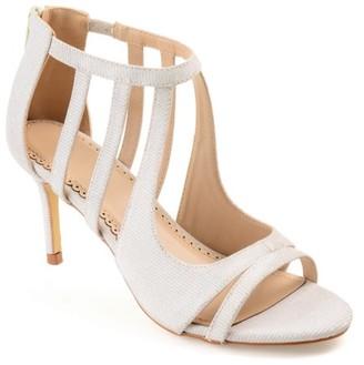 Co Brinley Women's Glitter Open-toe Cut-out Caged Heels