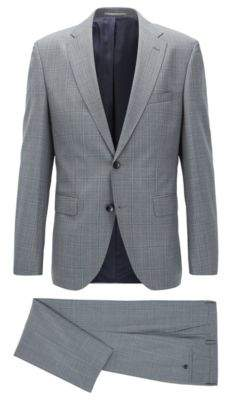 BOSS Hugo Plaid Wool Suit, Regular Fit Johnstons/Lenon 38S Light Blue