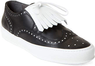 Clergerie Tolka Brogue Fringe Leather Sneakers