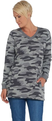 Denim & Co. Active Camo Printed French Terry Tunic w Pockets