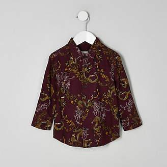 River Island Mini boys burgundy dragon print shirt