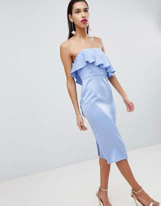Asos DESIGN Soft Bandeau Ruffle Crop Top Pencil Midi Dress
