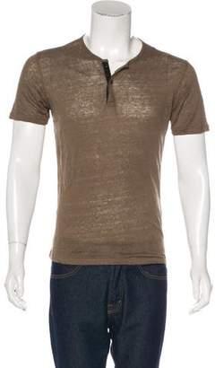 The Kooples Linen Henley T-Shirt