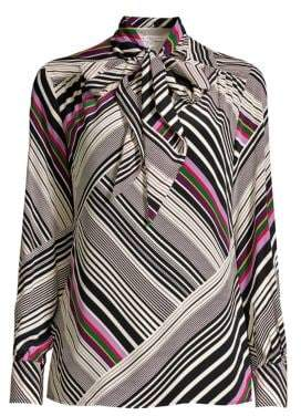 Trina Turk Cocktail Soiree Demming Tie-Neck Blouse