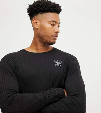 SikSilk long sleeve t-shirt in black rib exclusive to ASOS