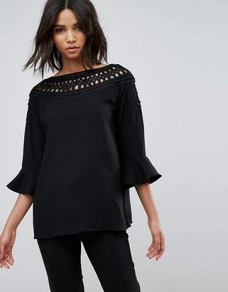 B.young Lace Insert Blouse With Ruffle Sleeve