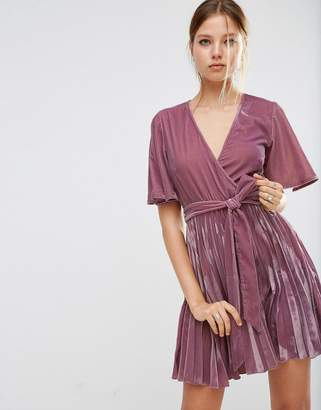 ASOS Velvet Wrap Front Pleated Skater Dress $68 thestylecure.com