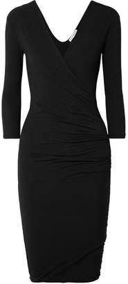 James Perse Wrap-effect Ruched Cotton-blend Jersey Dress - Black