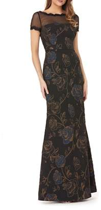 JS Collections Illusion Neck Matelasse Trumpet Gown