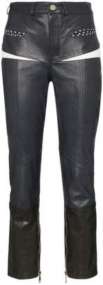 Skiim Manon front pocket slim leg leather trousers