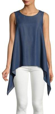 Halston H Chambray Sleeveless Shark Bite Top