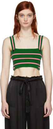 ALEXACHUNG Green and Pink Striped Rib Bra Tank Top