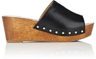 Barneys New York Women's Leather Platform Slide Sandals $225 thestylecure.com