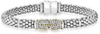 Lagos Sterling Silver Beaded Bracelet with Diamonds and 18K Gold