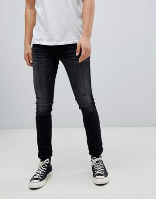 Jack and Jones Intelligence LIAM skinny fit jeans with distressing