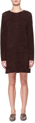 The Row Rani Crewneck Long-Sleeve Short Suede Shift Dress