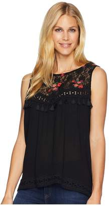 Wrangler Sleeveless Top with Lace Embroidered Front Women's Sleeveless